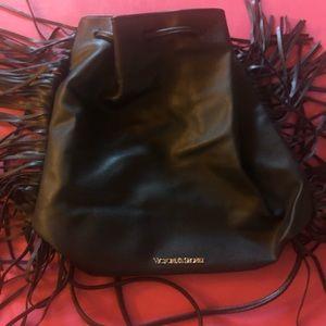 leather black victoria's secret backpack